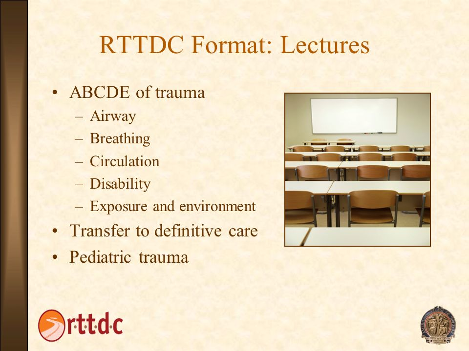 RTTDC Format: Lectures