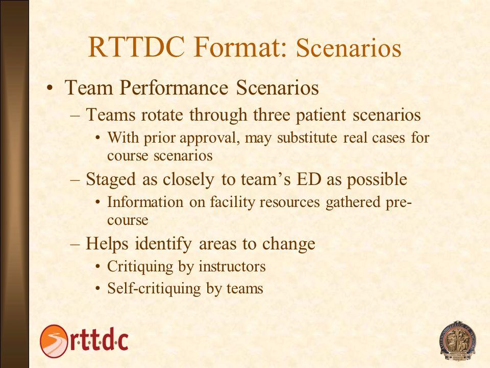 RTTDC Format: Scenarios