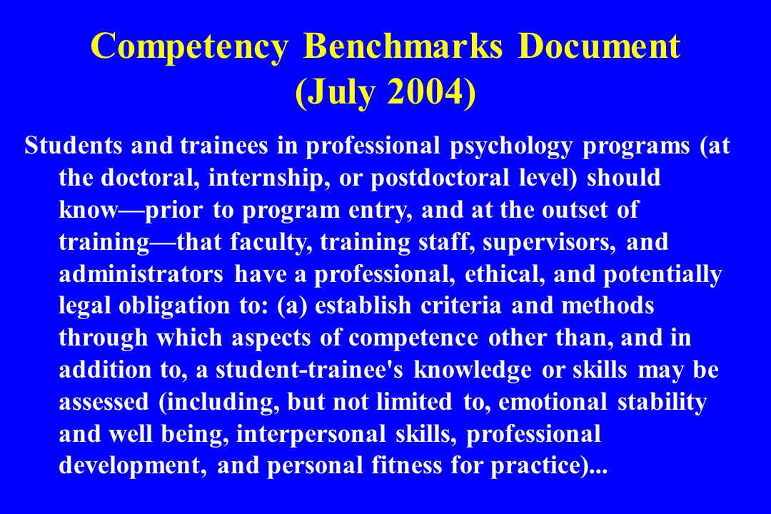 Competency Benchmarks Document