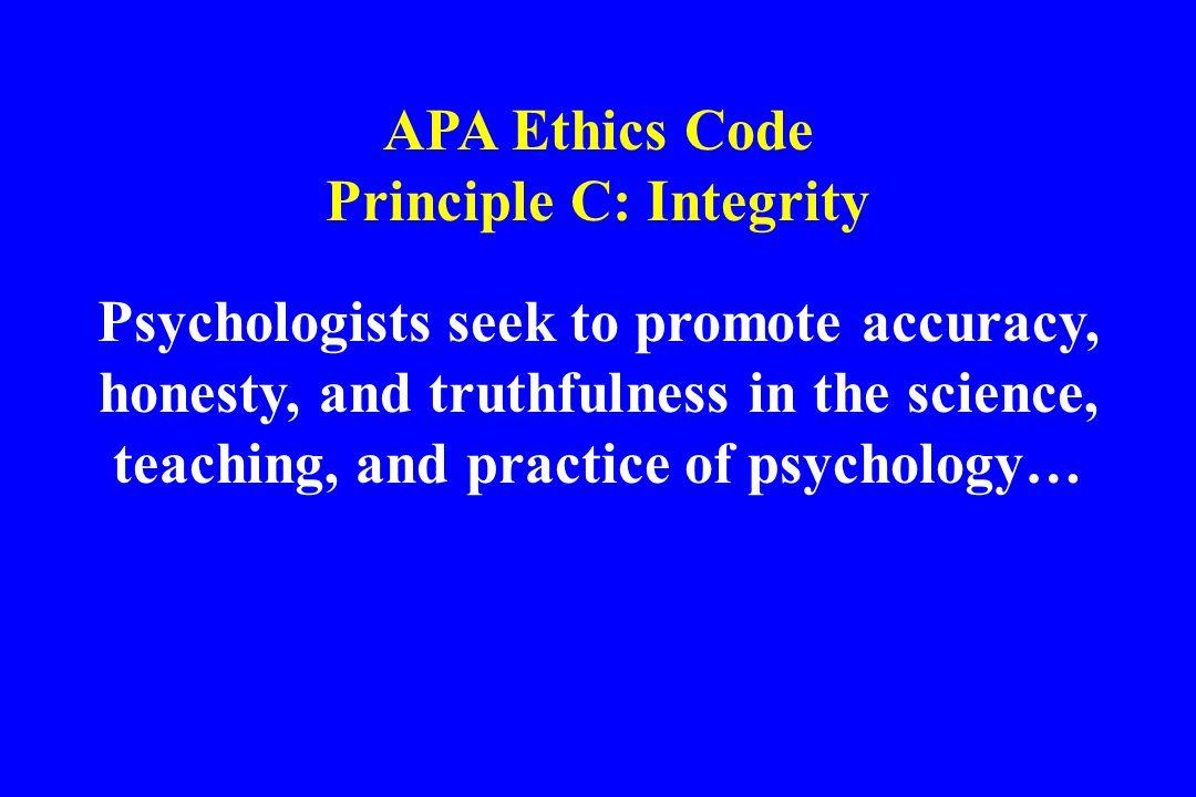 Principle C: Integrity