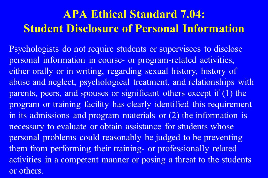APA Ethical Standard 7.04: Student Disclosure of Personal Information