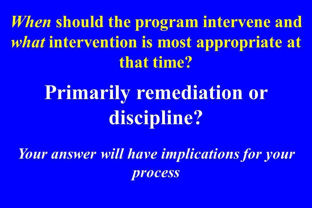 Primarily remediation or discipline