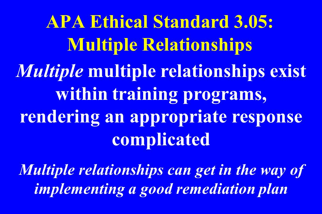 APA Ethical Standard 3.05: Multiple Relationships