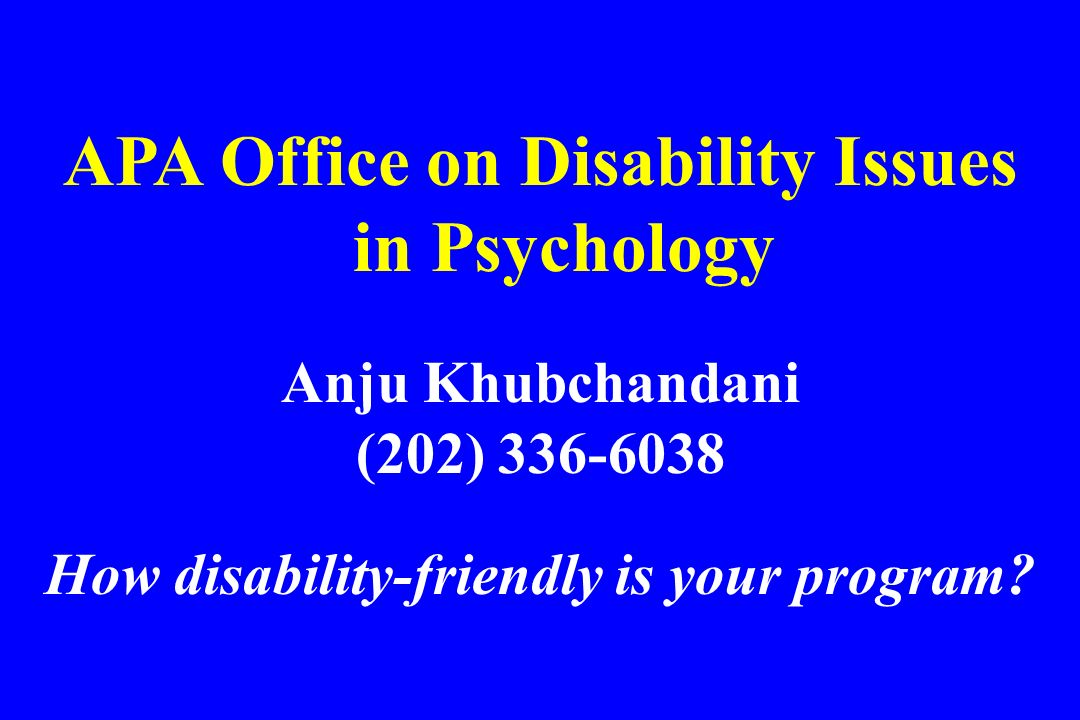 APA Office on Disability Issues in Psychology