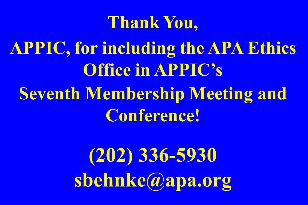 (202) 336-5930 sbehnke@apa.org Thank You,