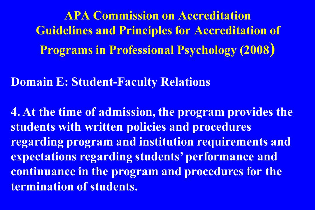 APA Commission on Accreditation Guidelines and Principles for Accreditation of Programs in Professional Psychology (2008)
