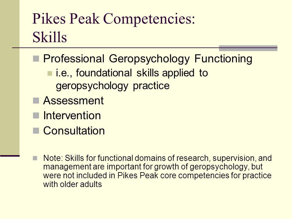 Pikes Peak Competencies: Skills