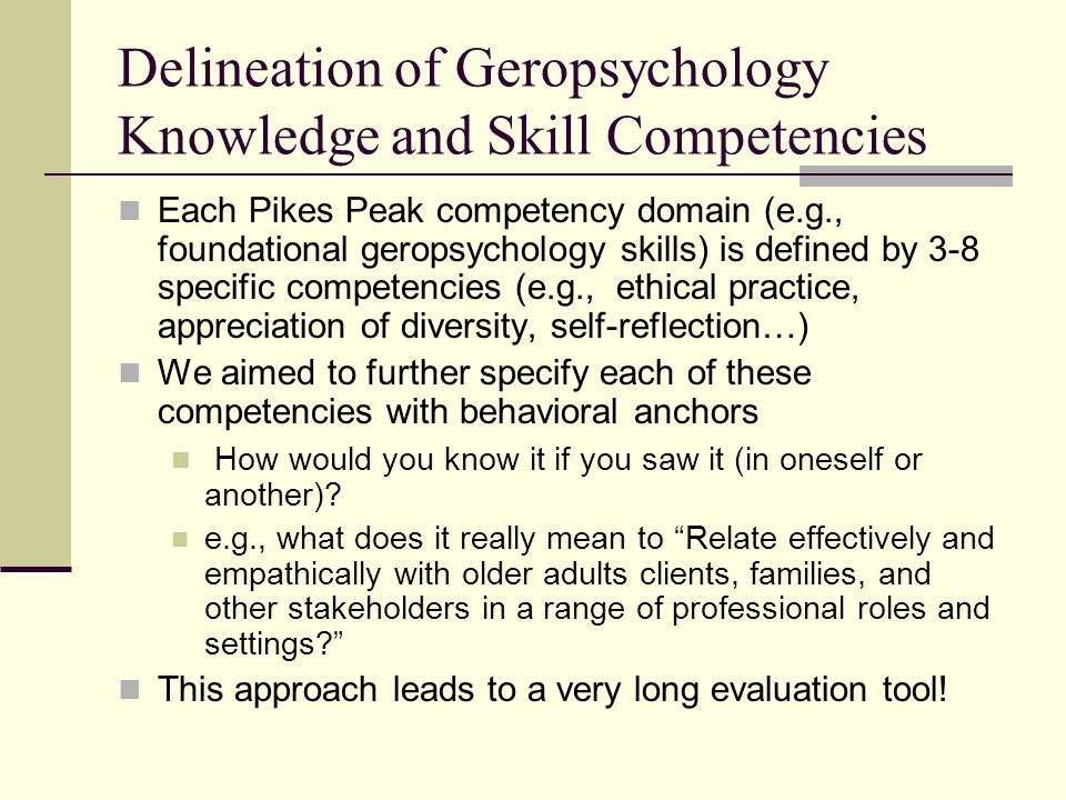 Delineation of Geropsychology Knowledge and Skill Competencies