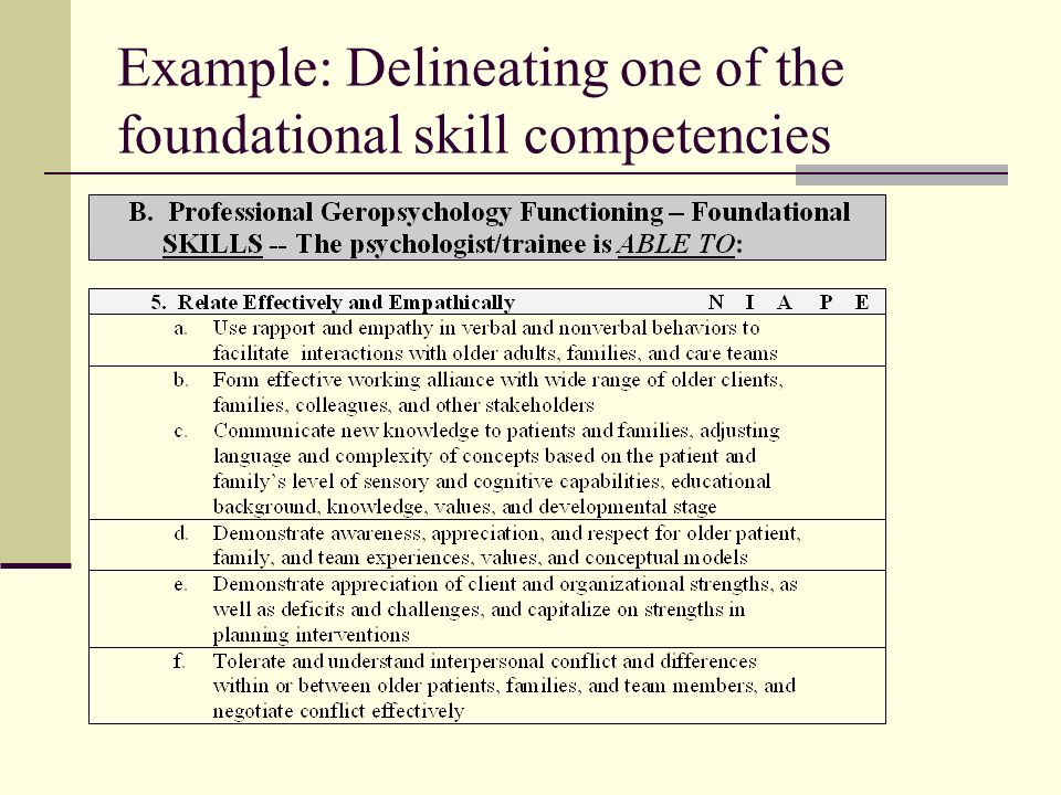 Example: Delineating one of the foundational skill competencies