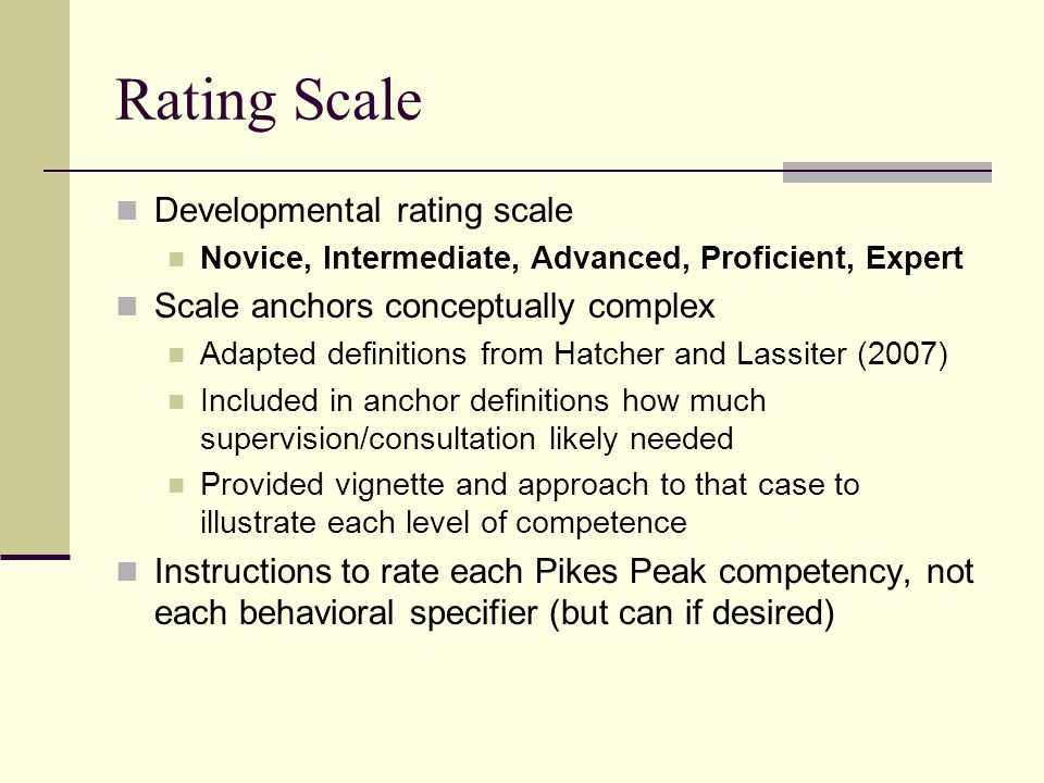 Rating Scale Developmental rating scale