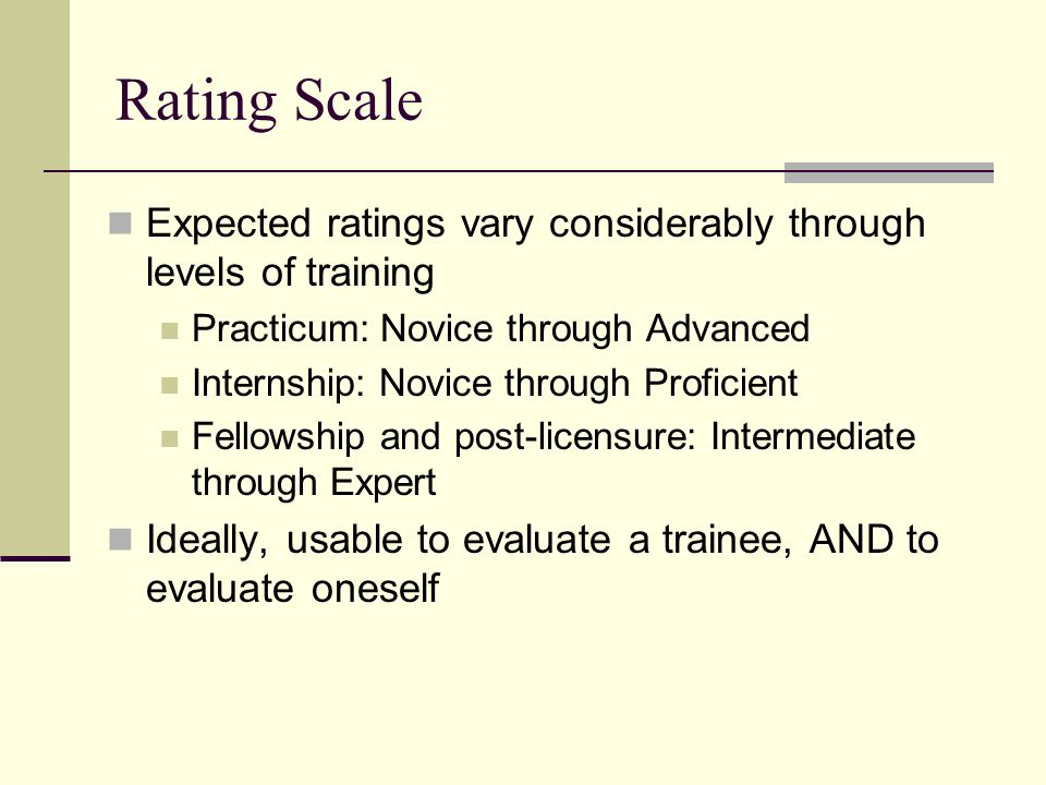 Rating Scale Expected ratings vary considerably through levels of training. Practicum: Novice through Advanced.