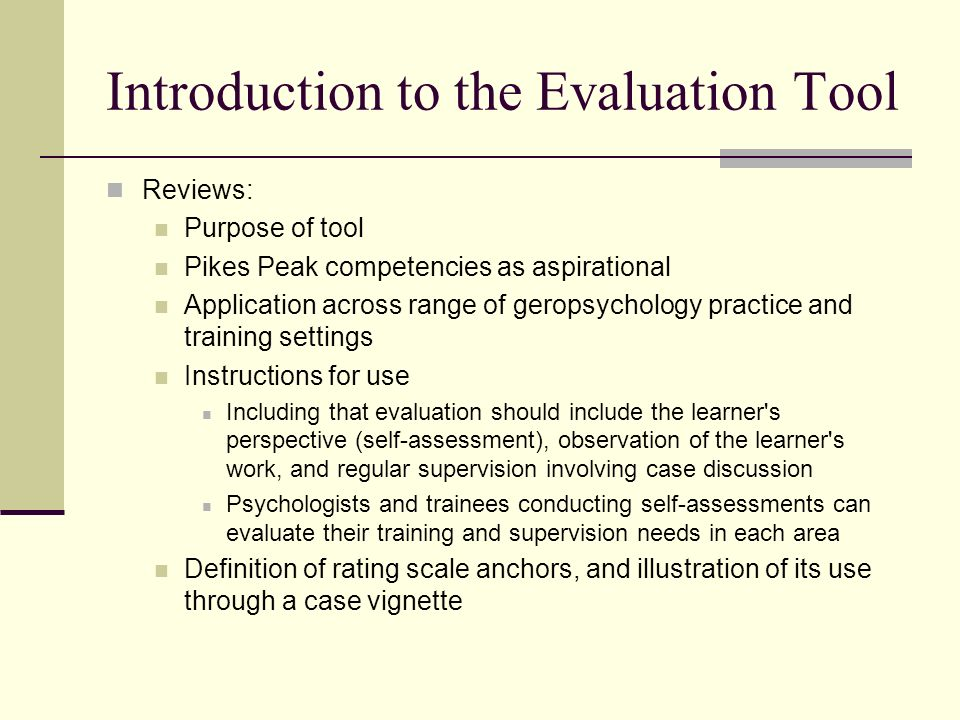 Introduction to the Evaluation Tool