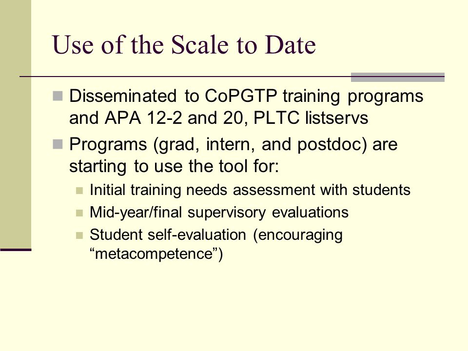 Use of the Scale to Date Disseminated to CoPGTP training programs and APA 12-2 and 20, PLTC listservs.