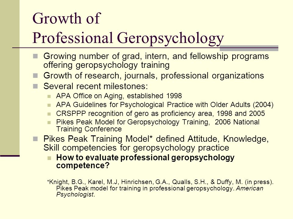 Growth of Professional Geropsychology