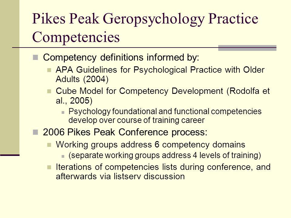 Pikes Peak Geropsychology Practice Competencies