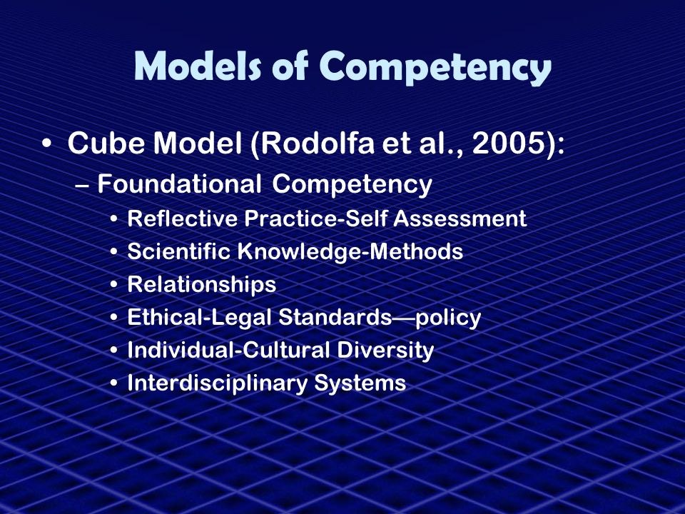 Models of Competency Cube Model (Rodolfa et al., 2005):