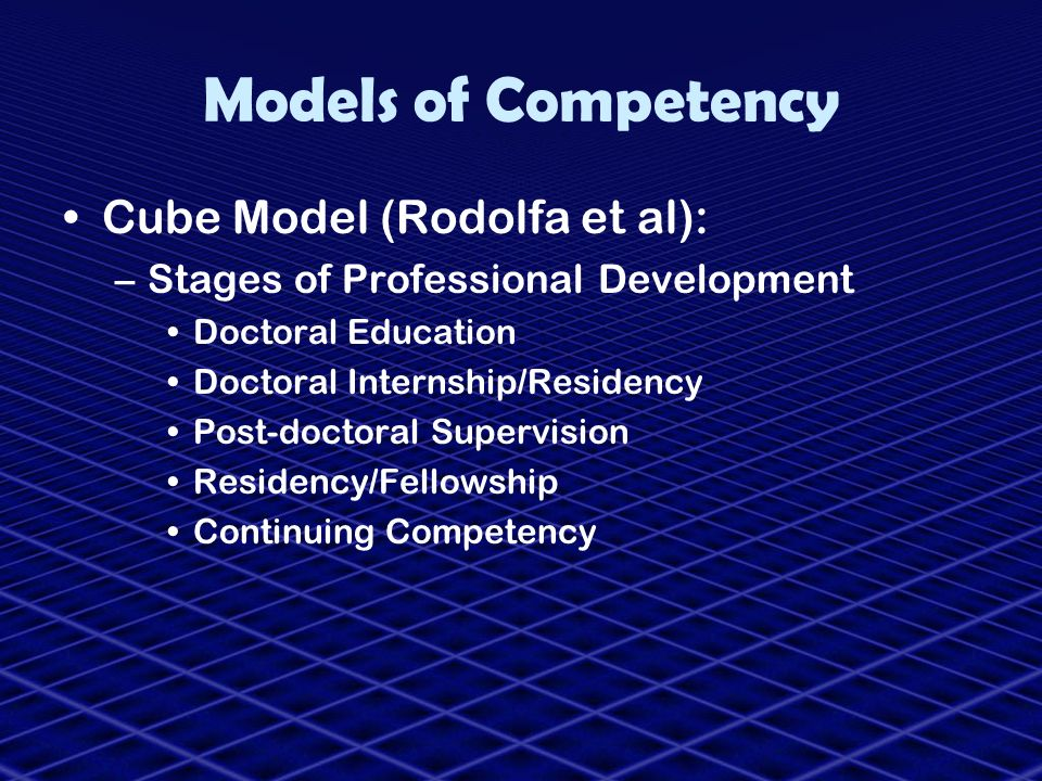 Models of Competency Cube Model (Rodolfa et al):