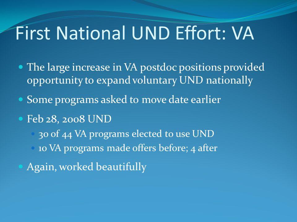 First National UND Effort: VA