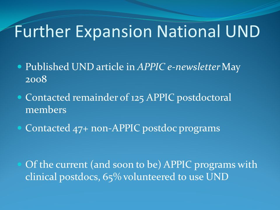 Further Expansion National UND