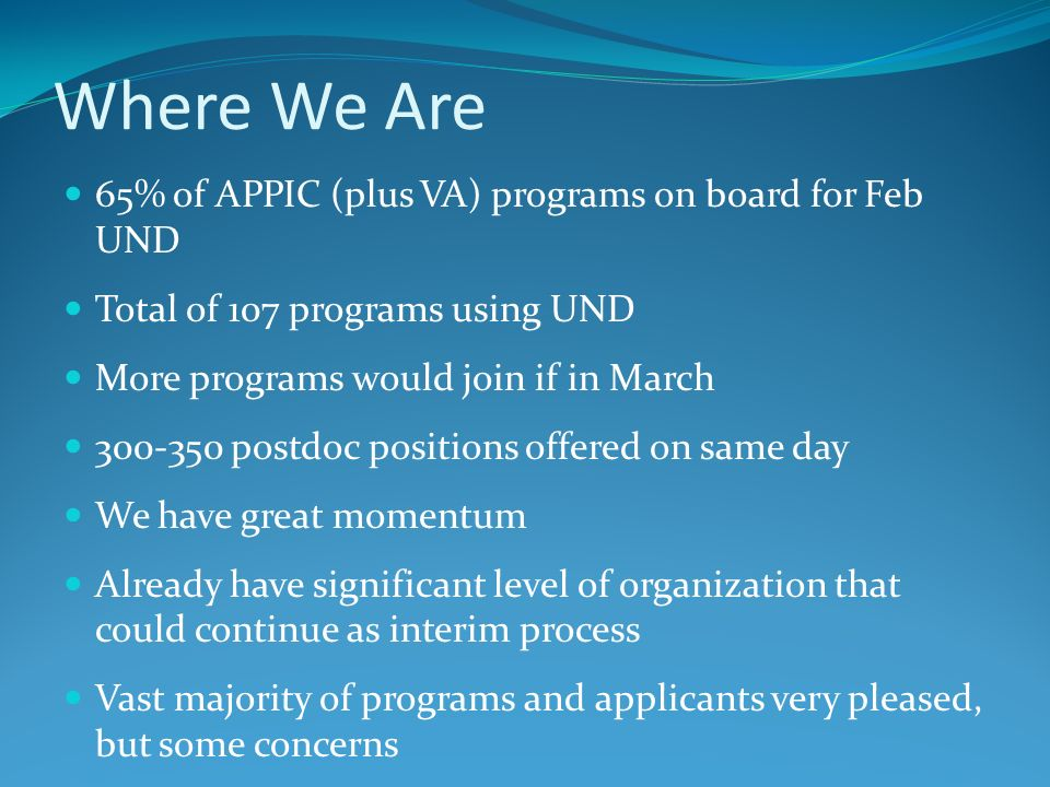 Where We Are 65% of APPIC (plus VA) programs on board for Feb UND