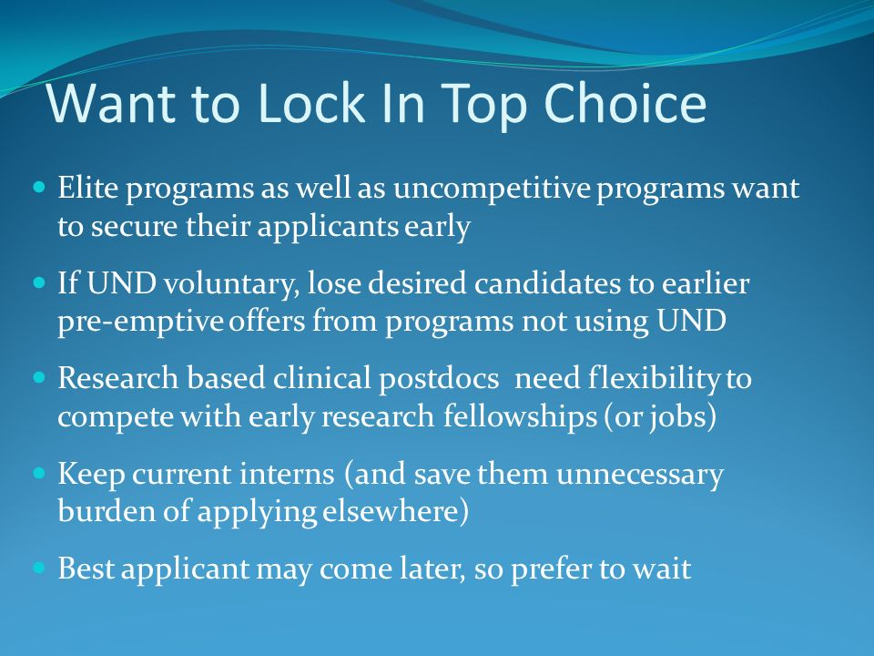 Want to Lock In Top Choice