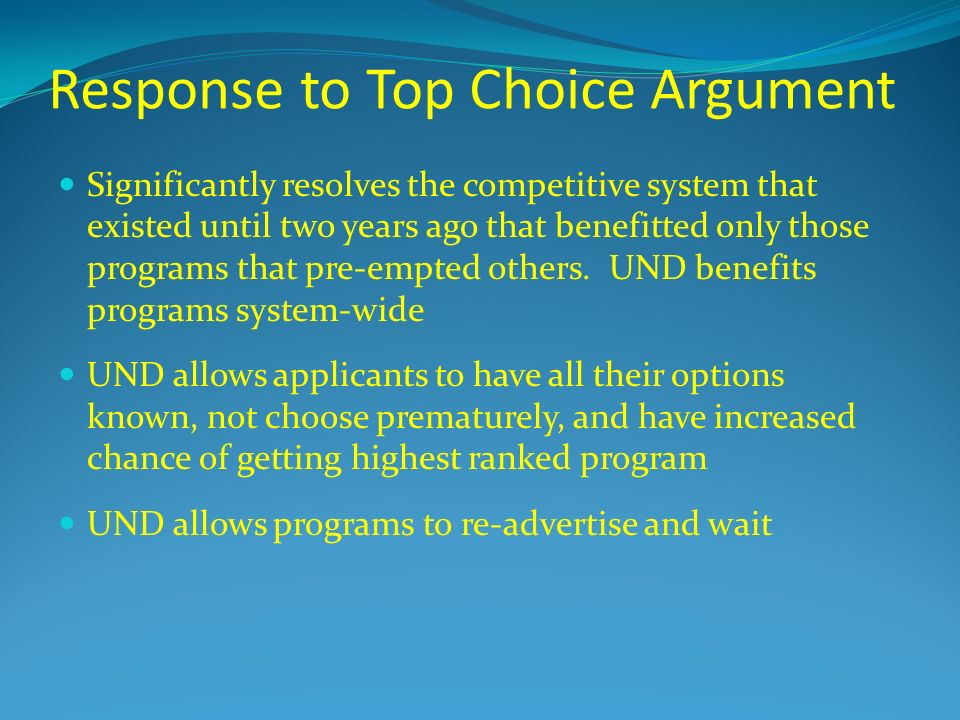 Response to Top Choice Argument