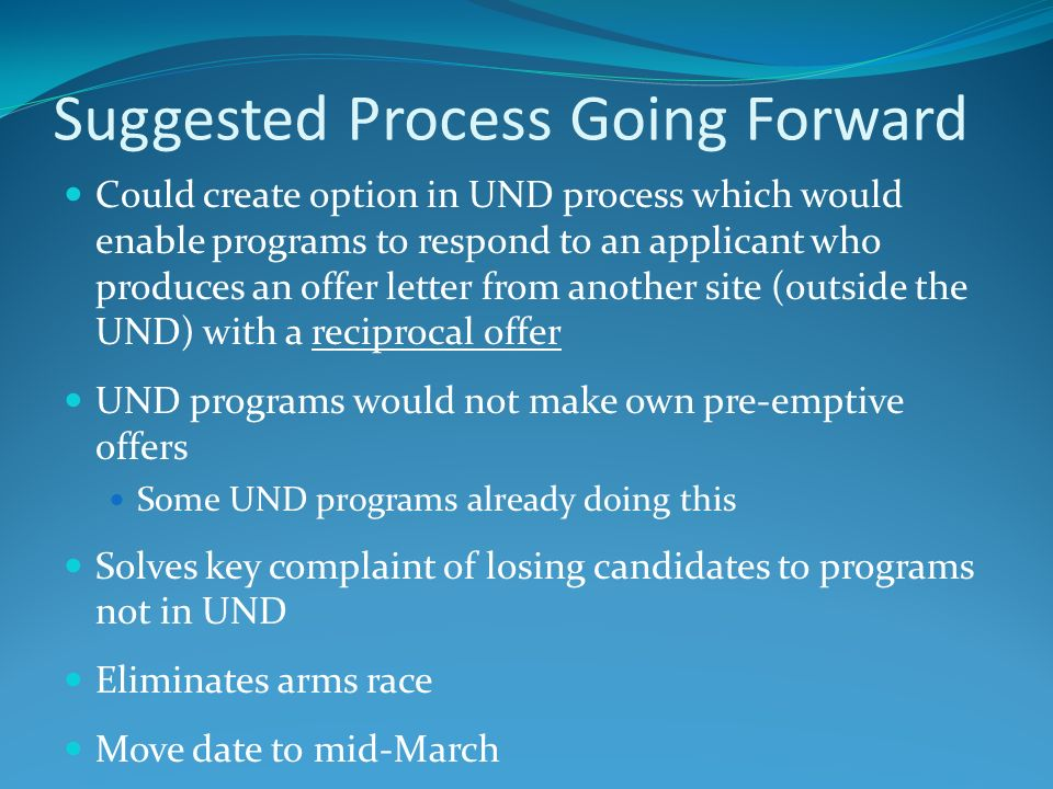 Suggested Process Going Forward