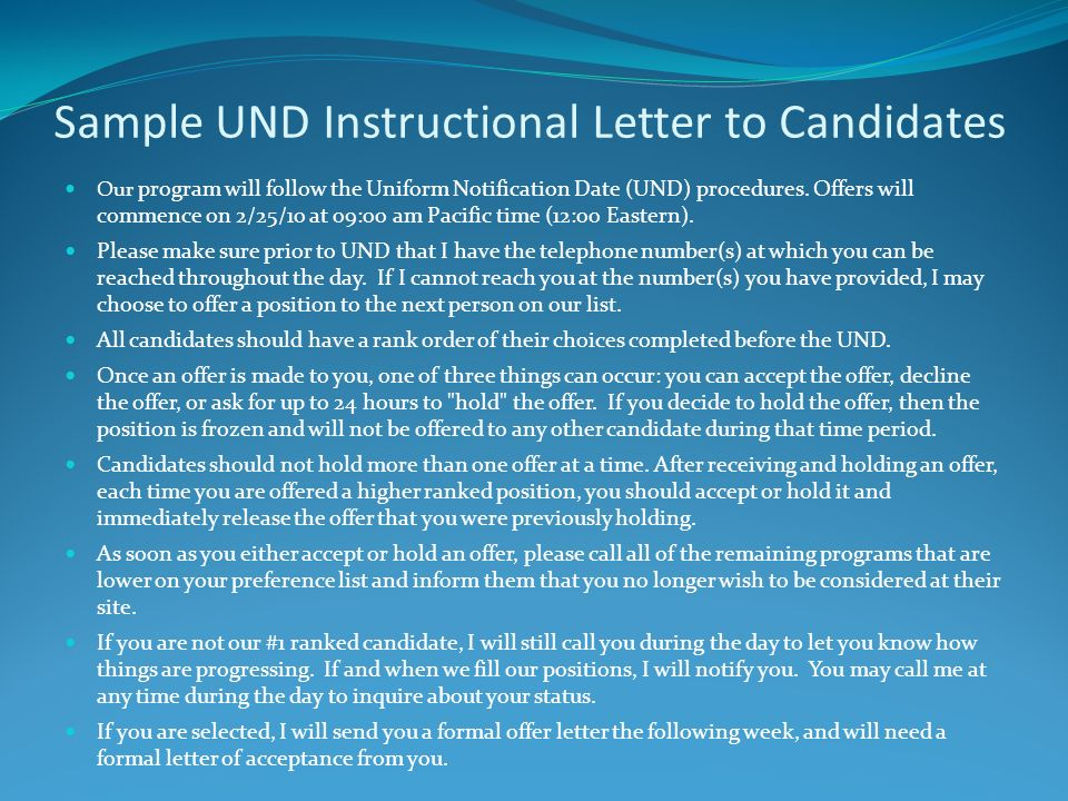 Sample UND Instructional Letter to Candidates