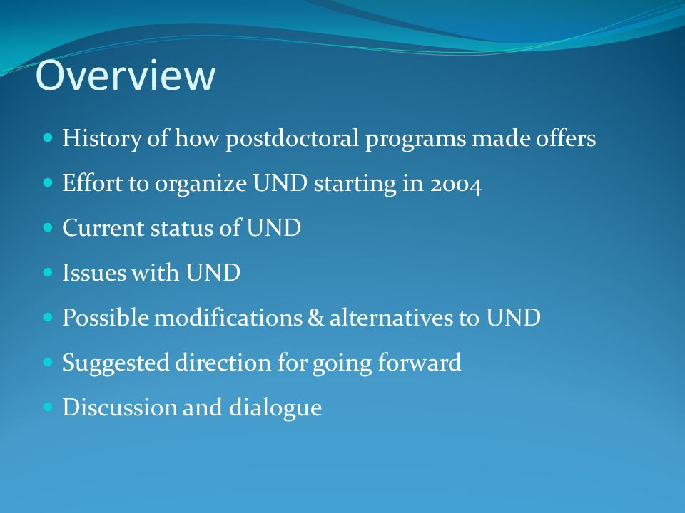 Overview History of how postdoctoral programs made offers