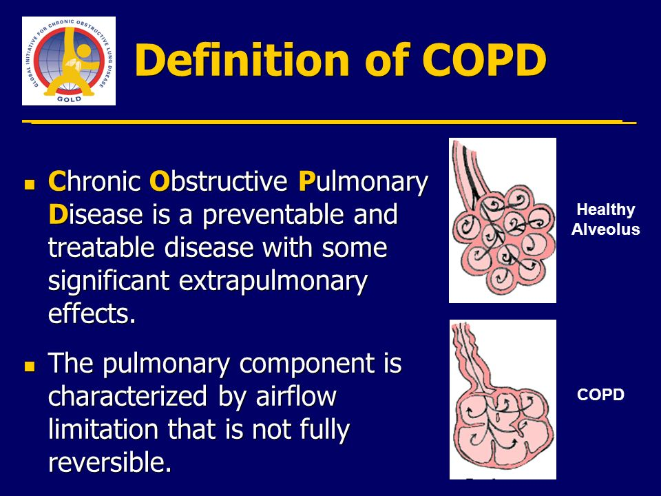 Definition of COPD Chronic Obstructive Pulmonary Disease is a preventable and treatable disease with some significant extrapulmonary effects.