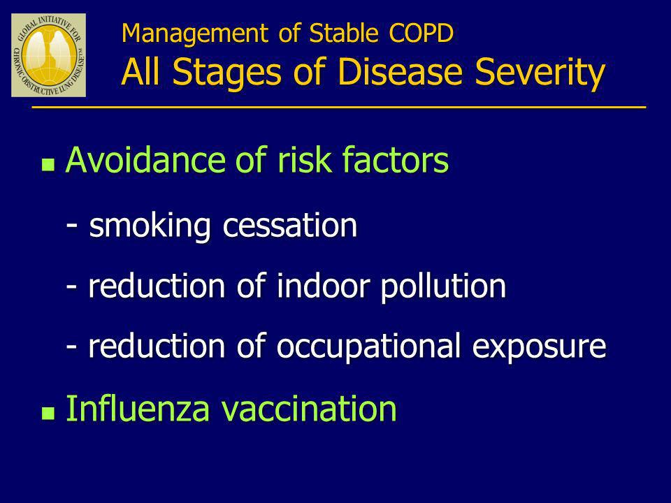 Management of Stable COPD All Stages of Disease Severity