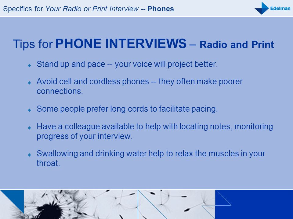 Specifics for Your Radio or Print Interview -- Phones