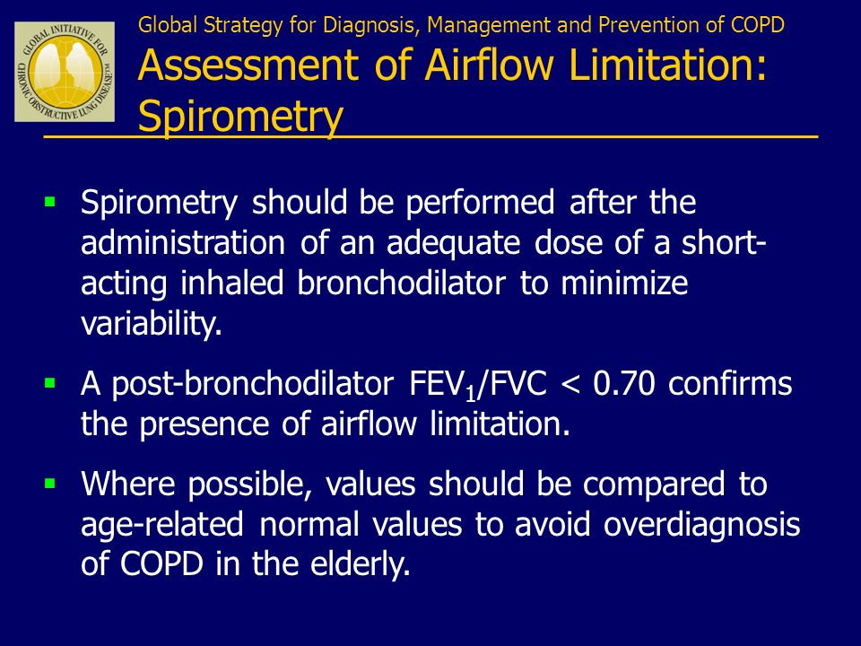 Global Strategy for Diagnosis, Management and Prevention of COPD Assessment of Airflow Limitation: