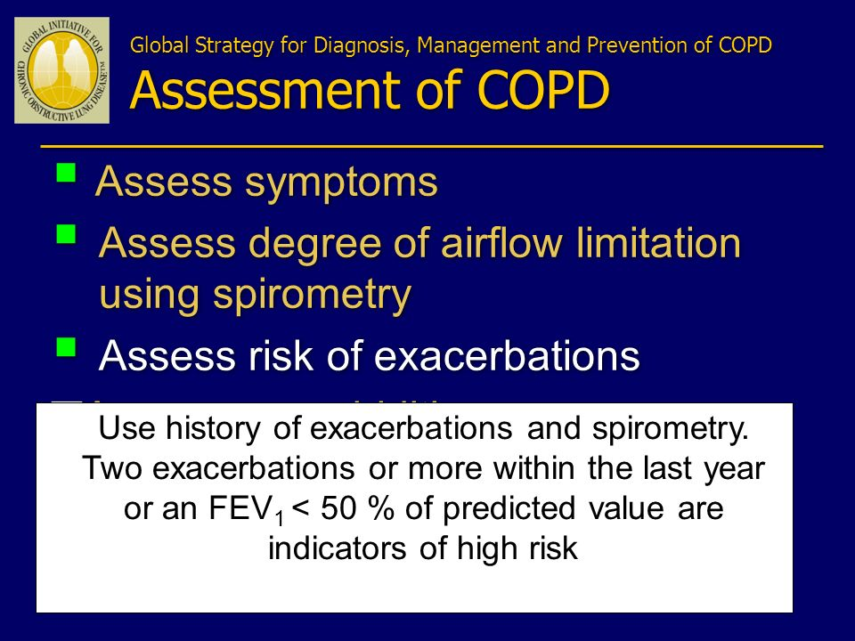 Assess degree of airflow limitation using spirometry