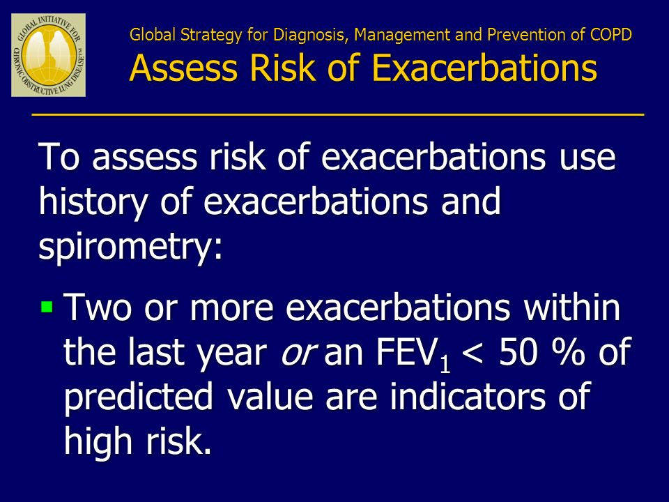 Global Strategy for Diagnosis, Management and Prevention of COPD Assess Risk of Exacerbations