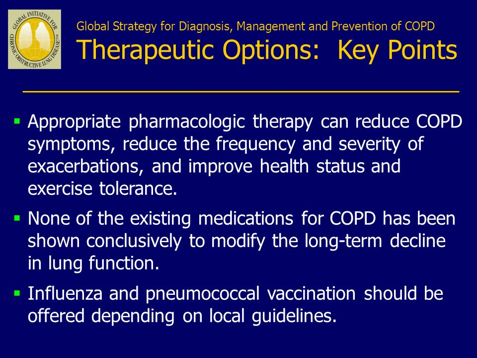 Global Strategy for Diagnosis, Management and Prevention of COPD Therapeutic Options: Key Points
