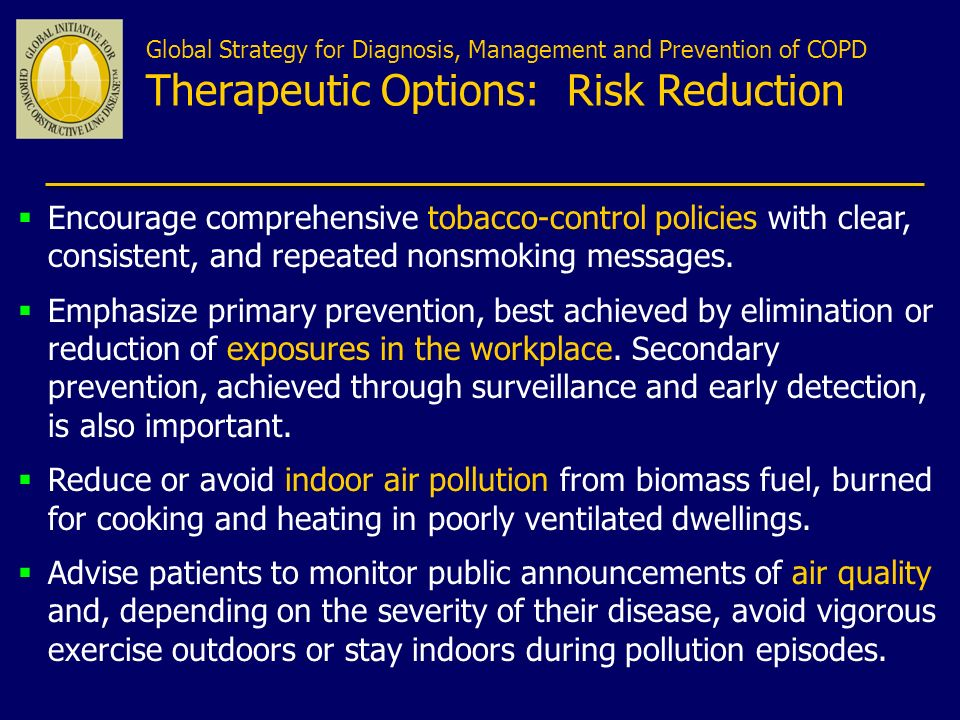 Global Strategy for Diagnosis, Management and Prevention of COPD Therapeutic Options: Risk Reduction