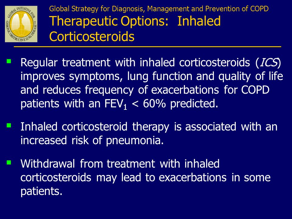 Global Strategy for Diagnosis, Management and Prevention of COPD Therapeutic Options: Inhaled Corticosteroids