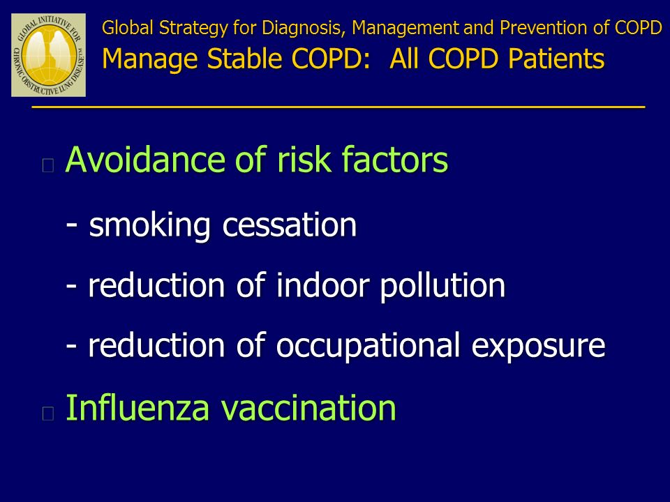Avoidance of risk factors - smoking cessation
