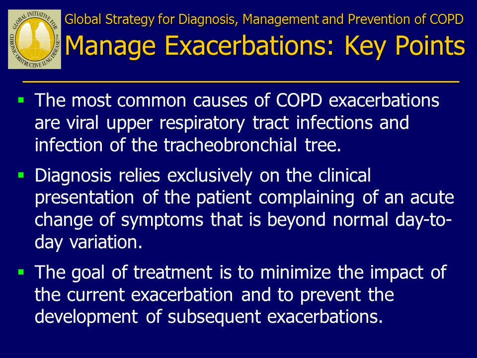 Global Strategy for Diagnosis, Management and Prevention of COPD Manage Exacerbations: Key Points