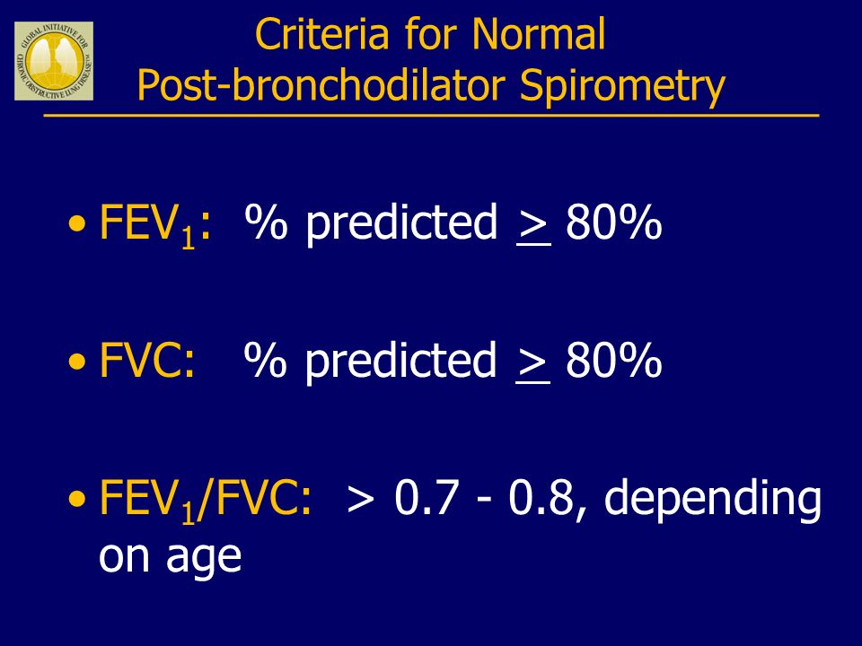 Criteria for Normal Post-bronchodilator Spirometry