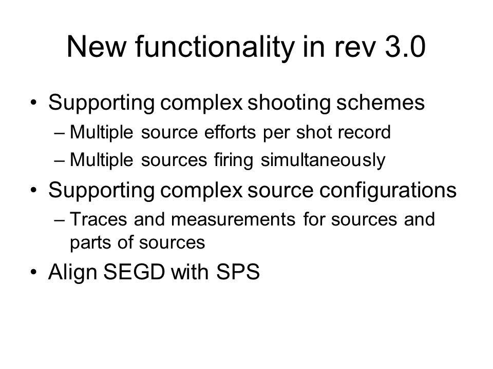 New functionality in rev 3.0
