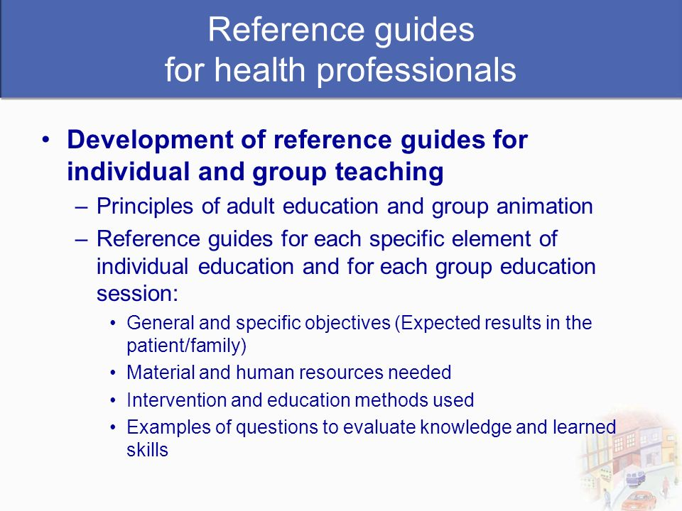 Reference guides for health professionals