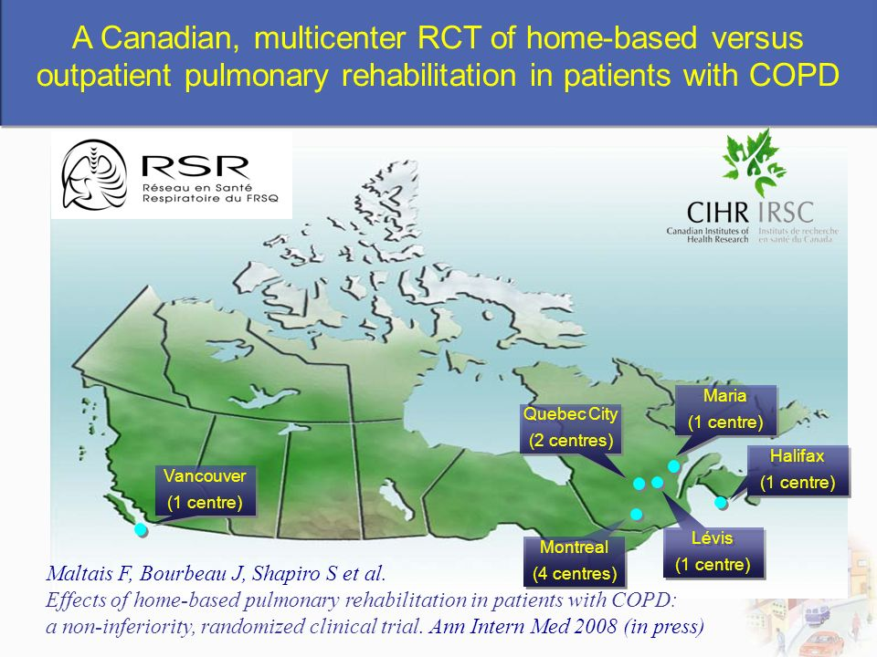 A Canadian, multicenter RCT of home-based versus outpatient pulmonary rehabilitation in patients with COPD