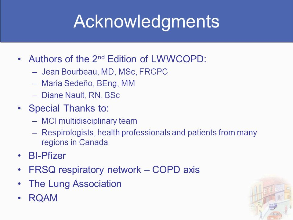 Acknowledgments Authors of the 2nd Edition of LWWCOPD:
