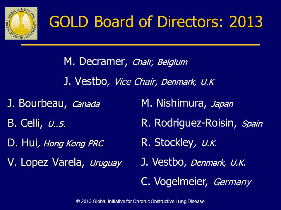 GOLD Board of Directors: 2013