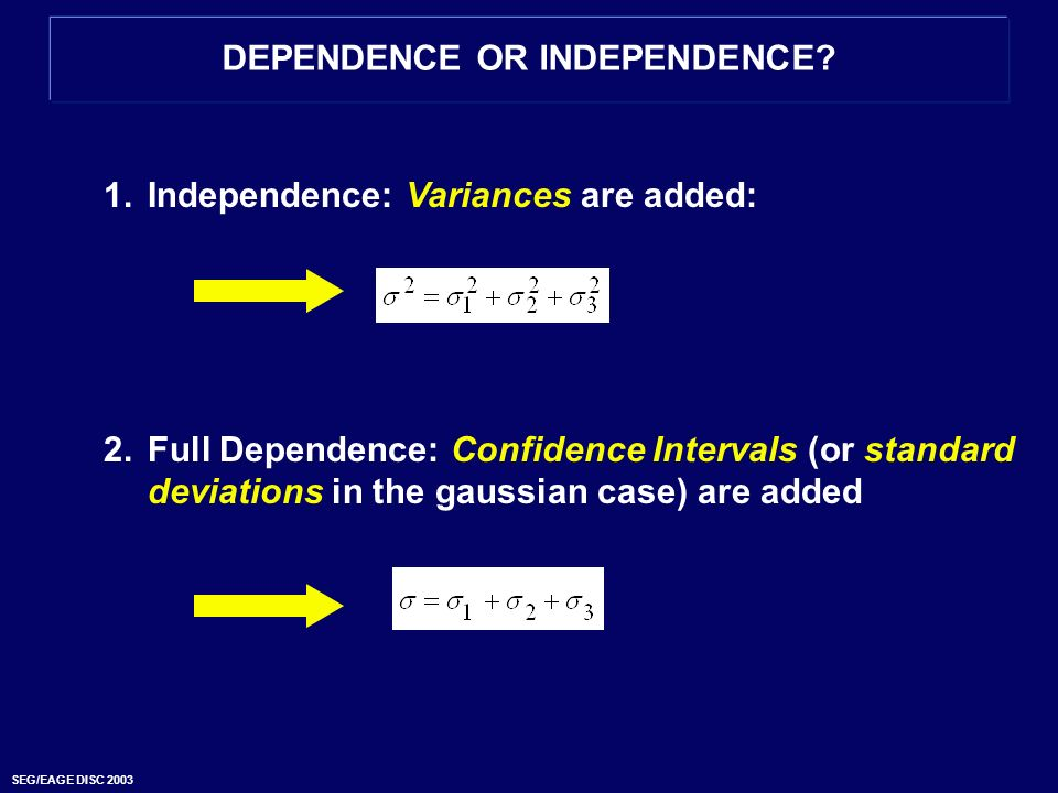 DEPENDENCE OR INDEPENDENCE