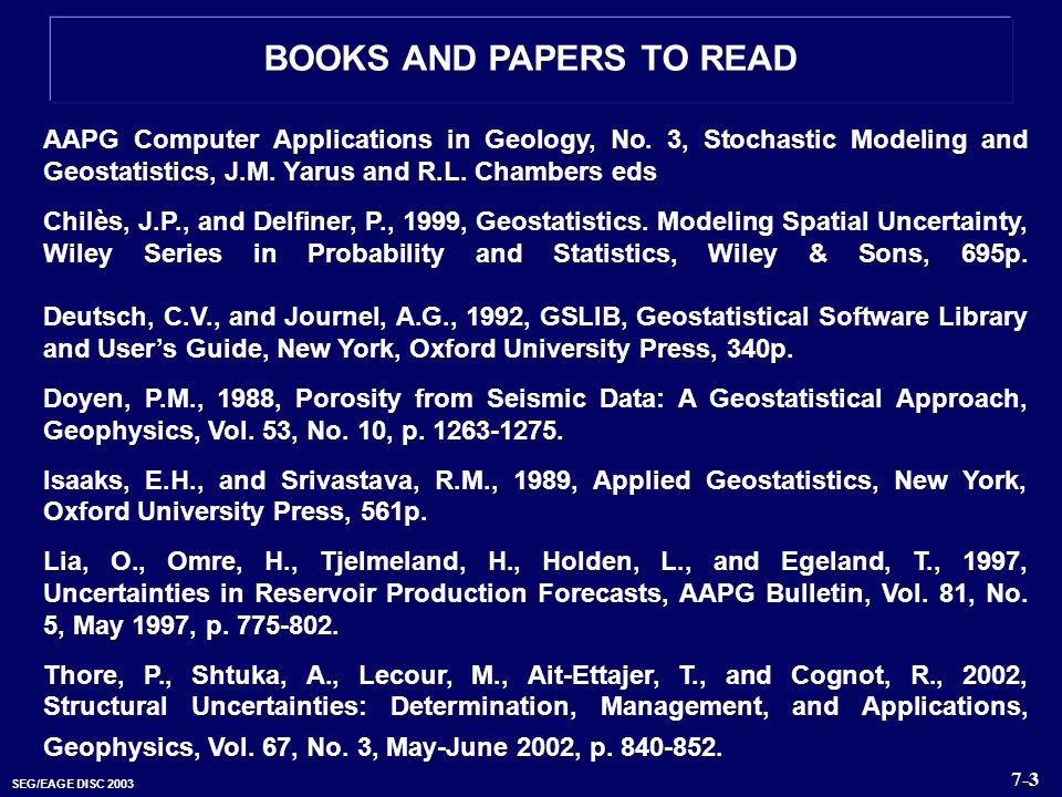 BOOKS AND PAPERS TO READ