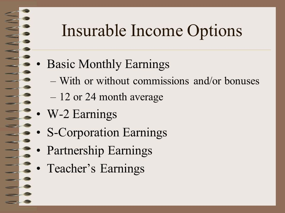 Insurable Income Options