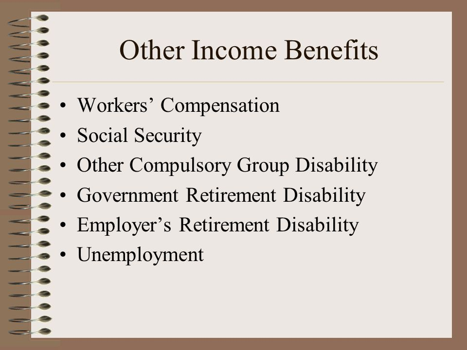 Other Income Benefits Workers' Compensation Social Security